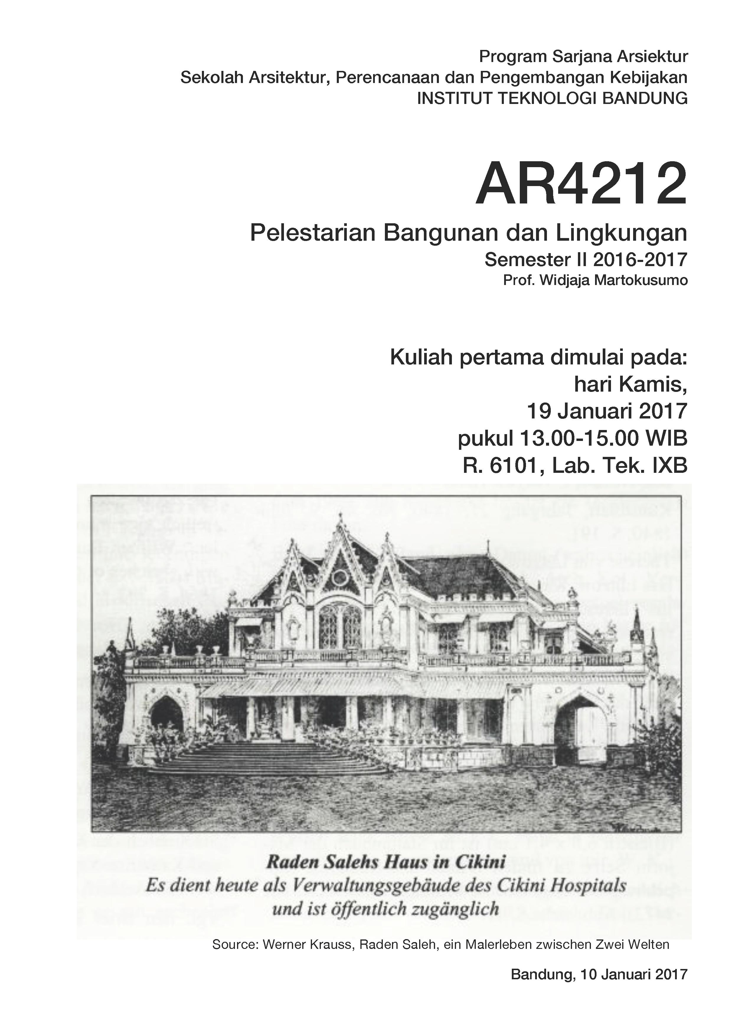 Kuliah Pilihan: Pelestarian Bangunan dan Lingkungan AR4212