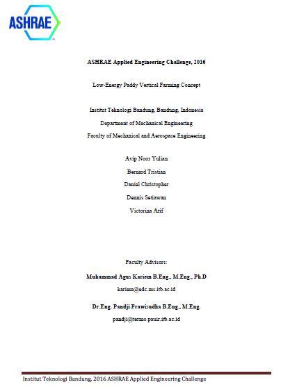 Juara II Applied Engineering Challenge – ASHRAE International Student Design Competition 2016