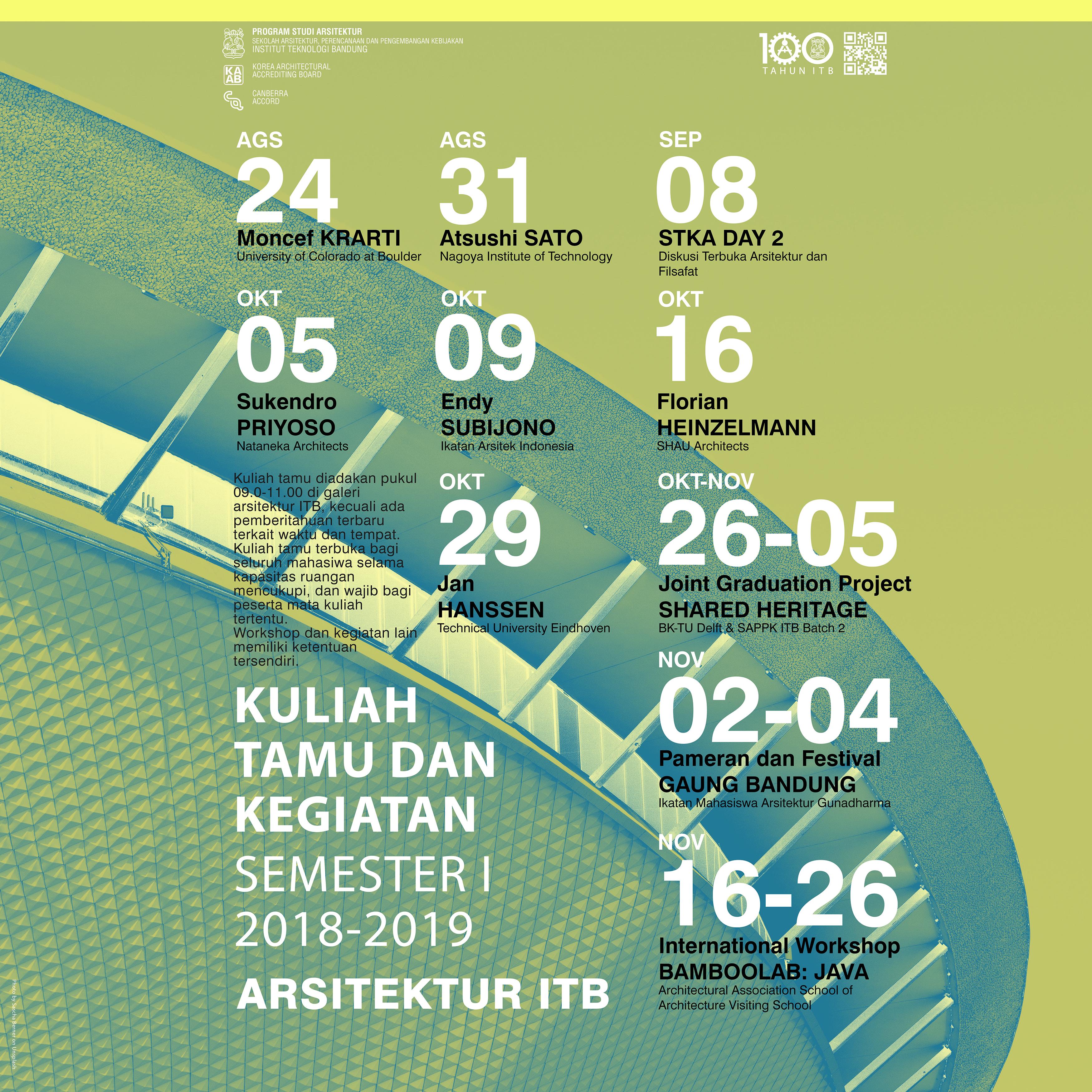 Kalender Kuliah Tamu dan Kegiatan Semester I 2018-2019