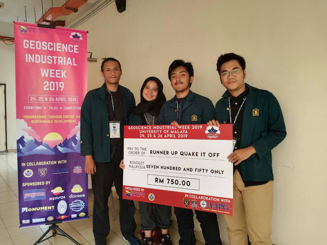 Juara 2 Geoscience Industrial Week, University of Malaya, Malaysia