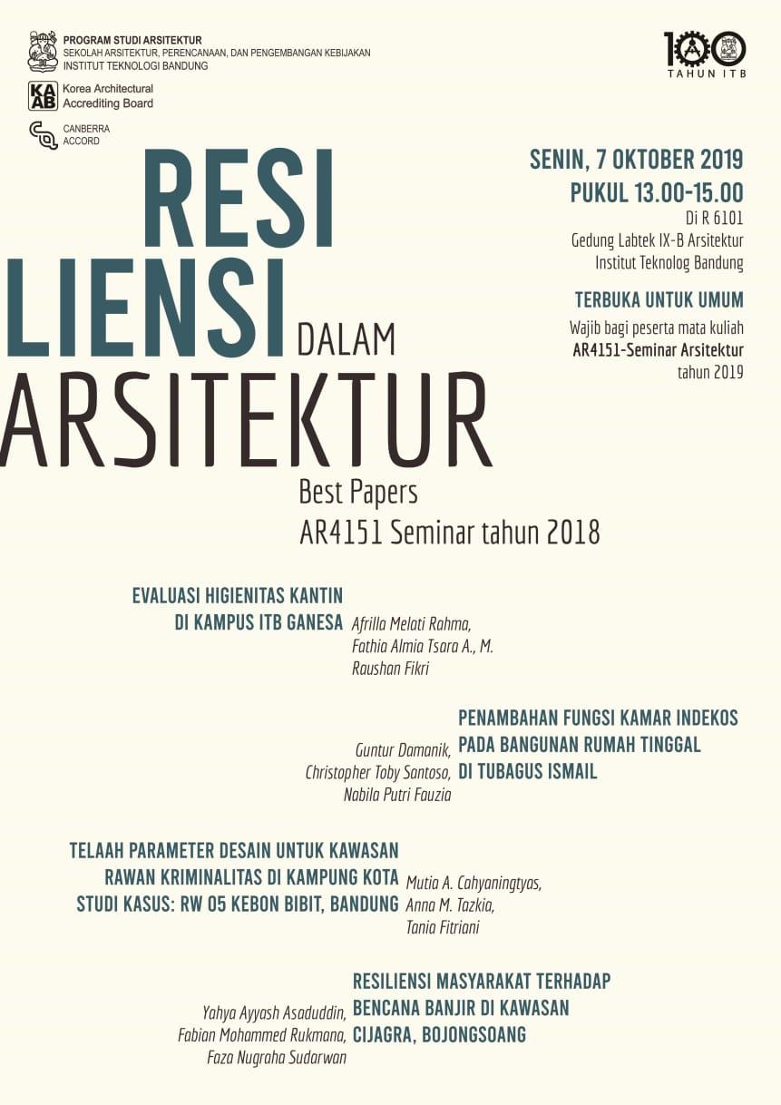 Seminar Mahasiswa: Resiliensi dalam Arsitektur