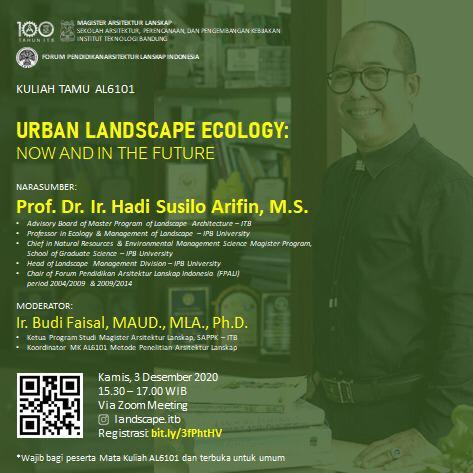 Kuliah Tamu AL6101 – Urban Landscape Ecology: Now and in the Future