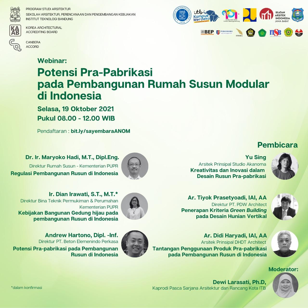 Webinar dan Sayembara Potensi Pra-Pabrikasi pada Pembangunan Rumah Susun Modular di Indonesia